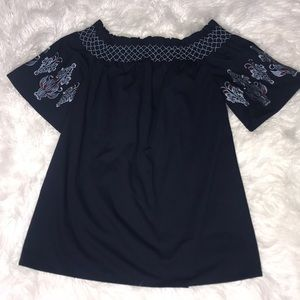 Embroidered Sleeve Navy Shift Dress